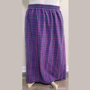 L.L.Bean Womens Maxi Skirt Size XL Long Plaid